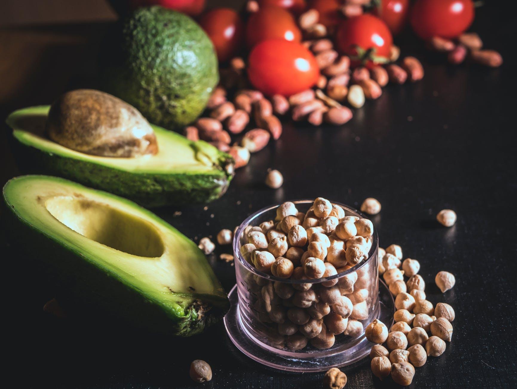 avocado peanuts and toamtoes